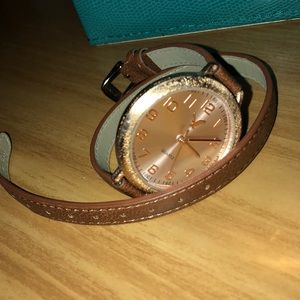 Gold and brown watch